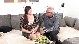 Old dude with a stiff dick fucks his mature housewife Inge