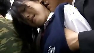 Japanese Schoolgirl gets played with on the bus