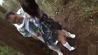 Blonde Teen In School Uniform Plays With Two Dicks Outdoor