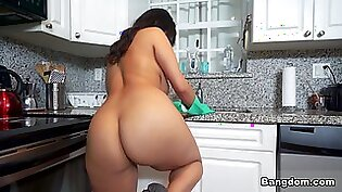 Derrick Ferrari & Violet Myers in  Maid With Huge Tits Gets Fucked - BangBros