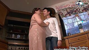 German fat chubby housewife fuck in kitchen