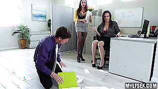 Two Office MILFs Dominate Assistants Cock in Threesome