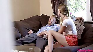 Nasty stepdaughter Haley Reed is having sex fun with her handsome step daddy