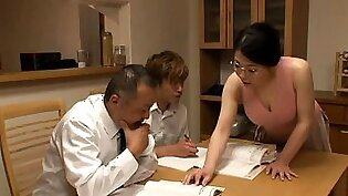 Stacked Oriental milf gets treated to a hardcore threesome