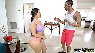 Stunning Latina Rose Monroe opens her legs for a black cock
