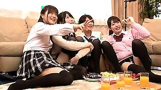 Four sensuous Japanese schoolgirls share their lust for cock