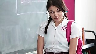 Sexy schoolgirl is getting undressed and is getting fucked hard
