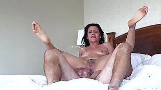Anal ride in hotel room drives pretty chick to squirting orgasm