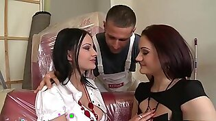 Horny pornstars Abbie Cat and Carla Mai in incredible threesome, facial adult movie